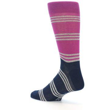 Image of Fuchsia Navy Stripe Men's Dress Socks (side-2-back-14)