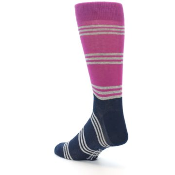 Image of Fuchsia Navy Stripe Men's Dress Socks (side-2-back-15)