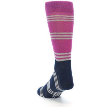 Image of Fuchsia Navy Stripe Men's Dress Socks (side-2-back-16)