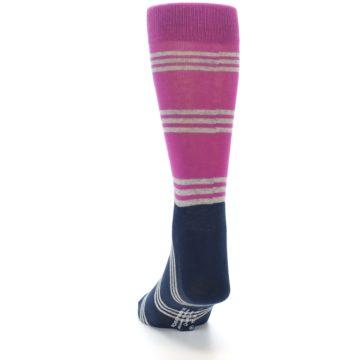Image of Fuchsia Navy Stripe Men's Dress Socks (back-17)