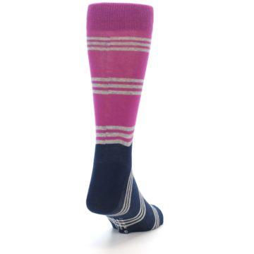 Image of Fuchsia Navy Stripe Men's Dress Socks (side-1-back-20)