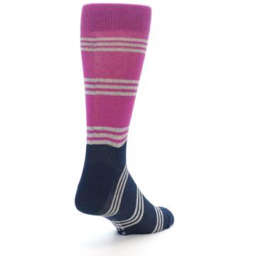 Image of Fuchsia Navy Stripe Men's Dress Socks (side-1-back-21)