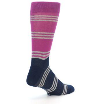 Image of Fuchsia Navy Stripe Men's Dress Socks (side-1-back-22)