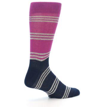 Image of Fuchsia Navy Stripe Men's Dress Socks (side-1-23)