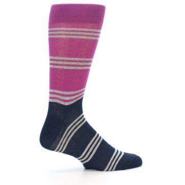 Image of Fuchsia Navy Stripe Men's Dress Socks (side-1-24)