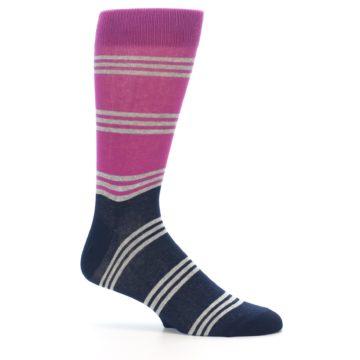 Image of Fuchsia Navy Stripe Men's Dress Socks (side-1-25)