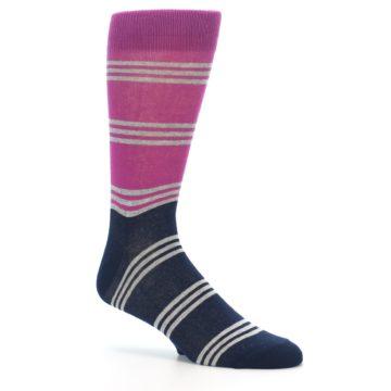 Image of Fuchsia Navy Stripe Men's Dress Socks (side-1-26)