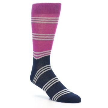 Image of Fuchsia Navy Stripe Men's Dress Socks (side-1-27)