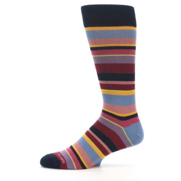 Image of Red Multi-Color Stripe Men's Dress Socks (side-2-11)