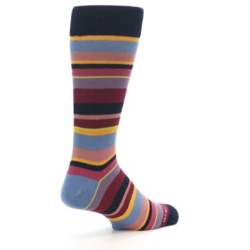 Image of Red Multi-Color Stripe Men's Dress Socks (side-1-back-22)