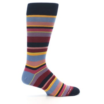 Image of Red Multi-Color Stripe Men's Dress Socks (side-1-24)