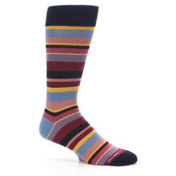 Image of Red Multi-Color Stripe Men's Dress Socks (side-1-25)