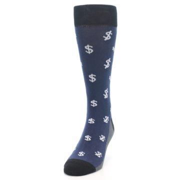 Image of Blue White Money Dollar Signs Men's Dress Socks (side-2-front-06)
