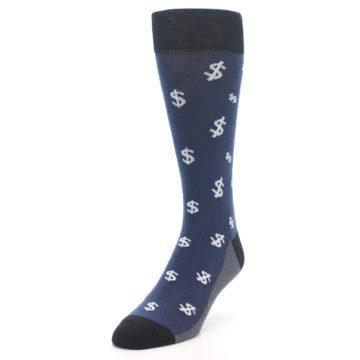 Image of Blue White Money Dollar Signs Men's Dress Socks (side-2-front-07)