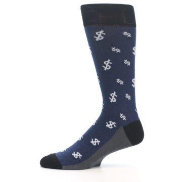 Image of Blue White Money Dollar Signs Men's Dress Socks (side-2-11)