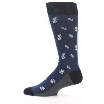 Image of Blue White Money Dollar Signs Men's Dress Socks (side-2-12)