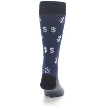 Image of Blue White Money Dollar Signs Men's Dress Socks (back-19)