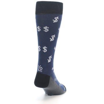 Image of Blue White Money Dollar Signs Men's Dress Socks (side-1-back-20)