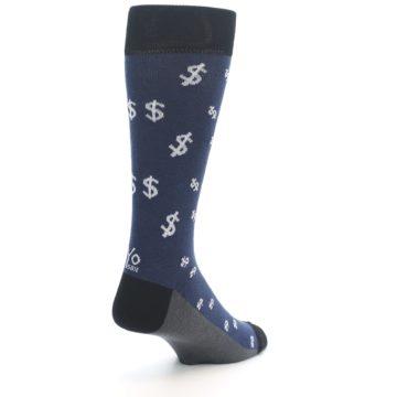 Image of Blue White Money Dollar Signs Men's Dress Socks (side-1-back-21)