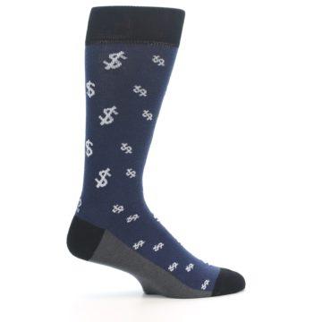 Image of Blue White Money Dollar Signs Men's Dress Socks (side-1-24)