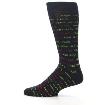 Image of Black Stock Market Ticker Men's Dress Socks (side-2-12)