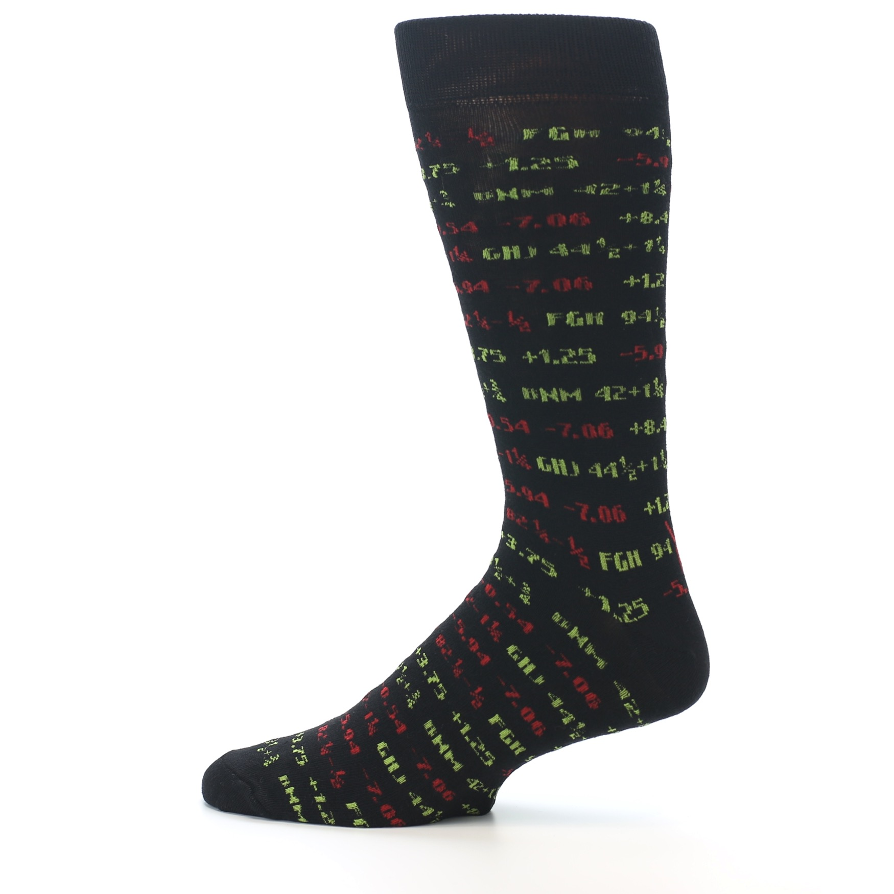 edad6632106e Image of Black Stock Market Ticker Men's Dress Socks (side-2-12)
