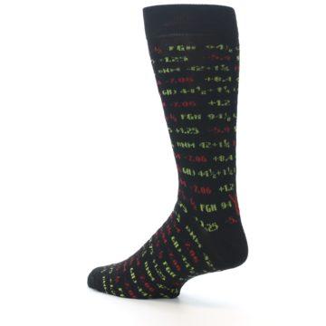 Image of Black Stock Market Ticker Men's Dress Socks (side-2-back-14)