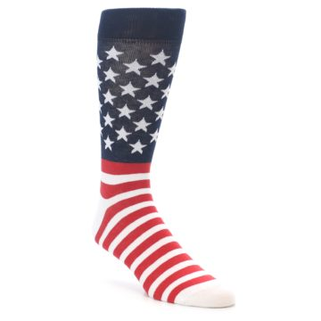 Image of Red White Blue American Flag Men's Dress Socks (side-1-front-01)