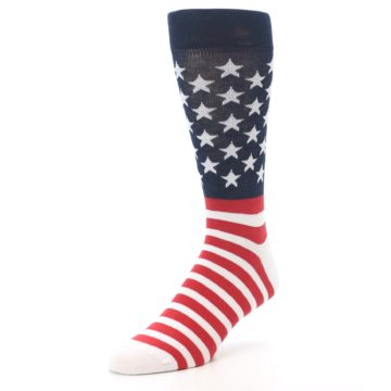 Image of Red White Blue American Flag Men's Dress Socks (side-2-front-08)