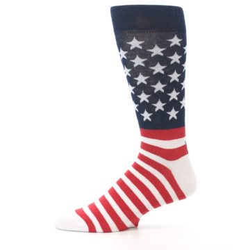 Image of Red White Blue American Flag Men's Dress Socks (side-2-11)