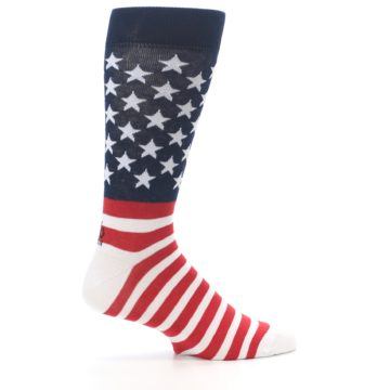 Image of Red White Blue American Flag Men's Dress Socks (side-1-24)