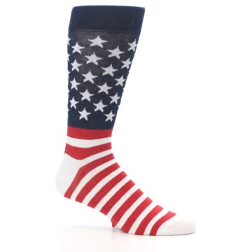 Image of Red White Blue American Flag Men's Dress Socks (side-1-25)