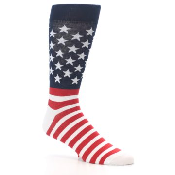 Image of Red White Blue American Flag Men's Dress Socks (side-1-26)