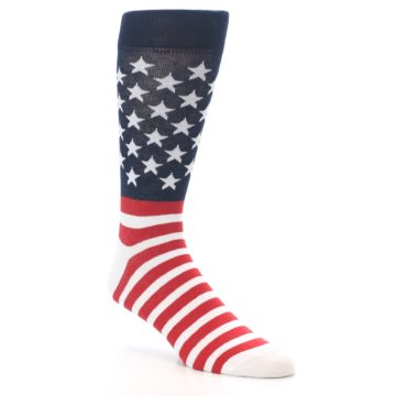Image of Red White Blue American Flag Men's Dress Socks (side-1-27)