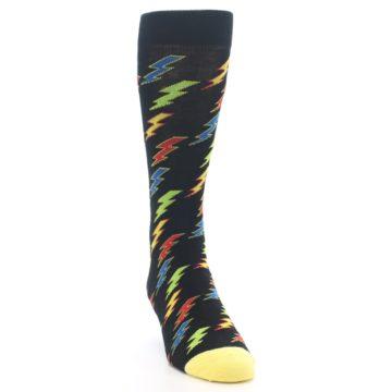 Image of Black Multi-Color Lighting Bolts Men's Dress Socks (side-1-front-03)