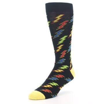Image of Black Multi-Color Lighting Bolts Men's Dress Socks (side-2-front-08)