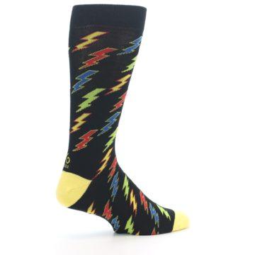 Image of Black Multi-Color Lighting Bolts Men's Dress Socks (side-1-23)