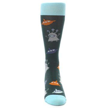 Image of Green Grey Orange Aliens & UFO Men's Dress Socks (front-04)