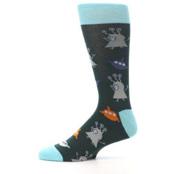 Image of Green Grey Orange Aliens & UFO Men's Dress Socks (side-2-11)