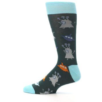 Image of Green Grey Orange Aliens & UFO Men's Dress Socks (side-2-12)