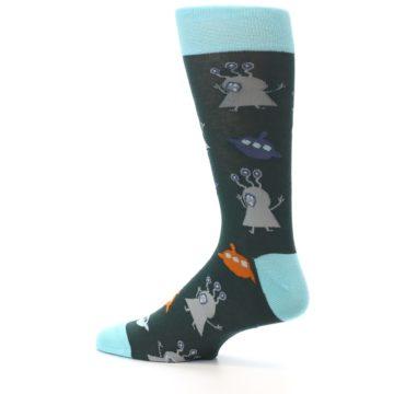Image of Green Grey Orange Aliens & UFO Men's Dress Socks (side-2-13)