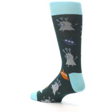 Image of Green Grey Orange Aliens & UFO Men's Dress Socks (side-2-back-14)