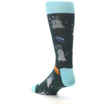 Image of Green Grey Orange Aliens & UFO Men's Dress Socks (side-2-back-15)