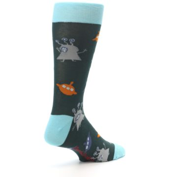 Image of Green Grey Orange Aliens & UFO Men's Dress Socks (side-1-back-22)