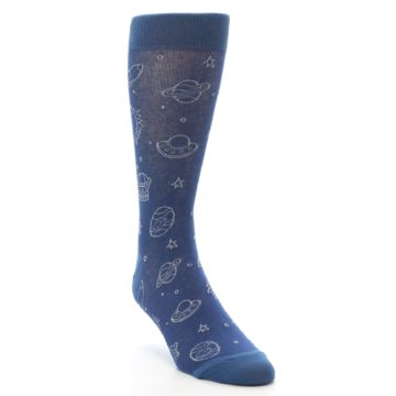 Image of Blue Planets & UFO Men's Dress Socks (side-1-front-03)
