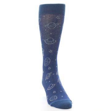 Image of Blue Planets & UFO Men's Dress Socks (front-04)