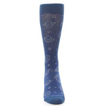 Image of Blue Planets & UFO Men's Dress Socks (front-05)