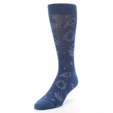 Image of Blue Planets & UFO Men's Dress Socks (side-2-front-08)