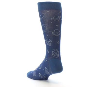 Image of Blue Planets & UFO Men's Dress Socks (side-2-back-15)