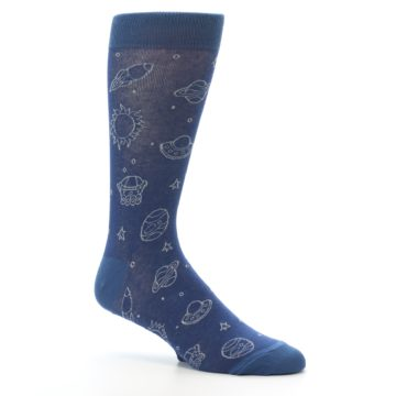 Image of Blue Planets & UFO Men's Dress Socks (side-1-26)